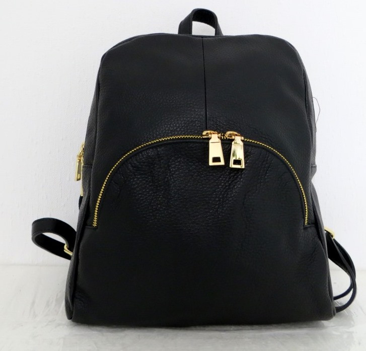Стильная сумка-рюкзак женская кожаная. Черный Италия