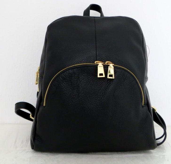 Стильная сумка-рюкзак женская кожаная. Черный Италия, фото 1