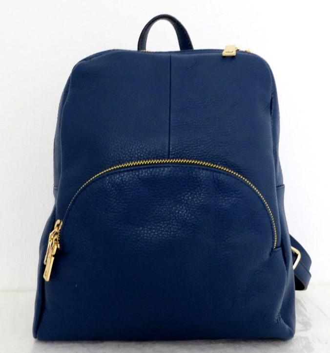 Стильная сумка-рюкзак женская кожаная. Синий. Италия