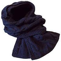 Вязаный шарф - петля темно - синего , цвета объемной ручной вязки