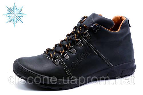 Ботинки зимние Gekon, мужские, на меху, кожаные, черные