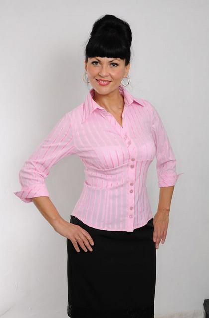 Блуза женская (БЛ 026), хлопок,деловая блуза,46,48,50,52,54.