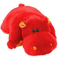 Подушка-игрушка  Бегемот, 45 см красый №1ПБ-9 (мягкая игрушка подушка бегемот)