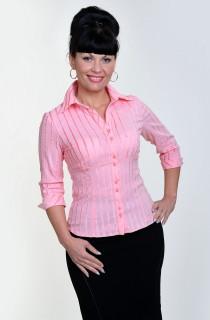 Блуза женская (БЛ 026-1),хлопок , нежный персик,ботал , деловая блуза, одежда для полной молодежи.