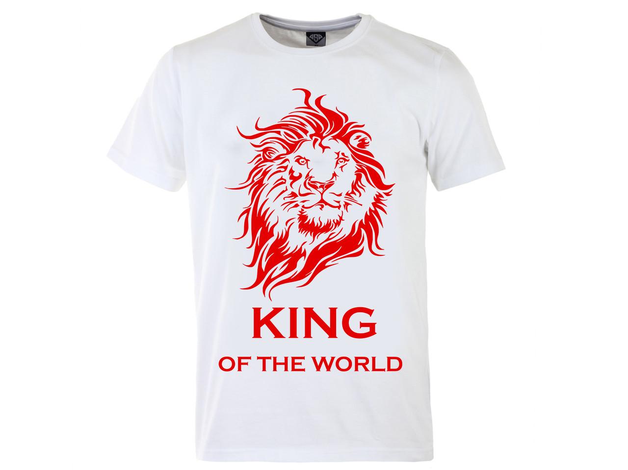 Мужская футболка с принтом Кing красный