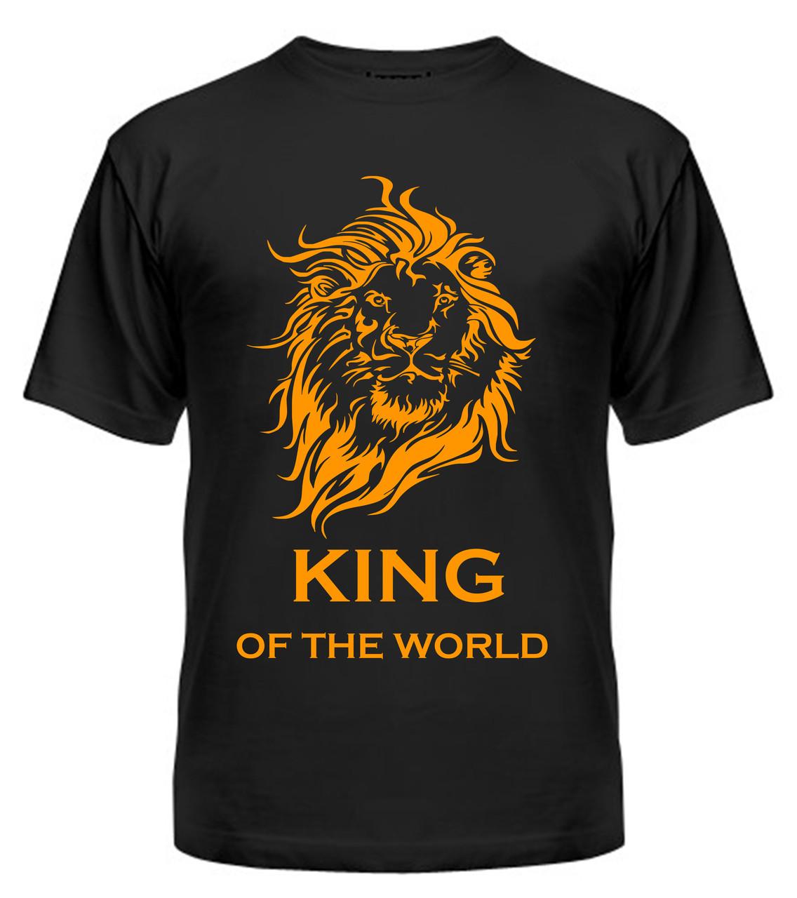 Мужская футболка с принтом Кing оранжевый