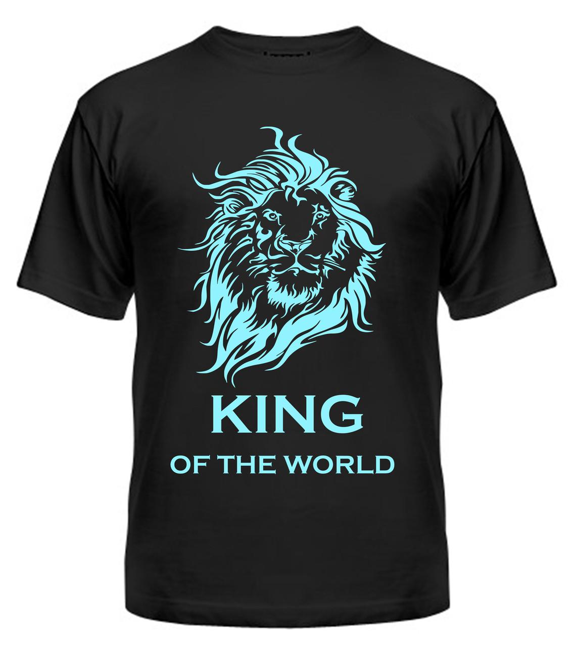 Мужская футболка с принтом Кing голубой