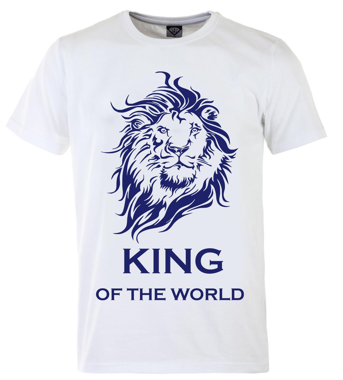 Мужская футболка с принтом Кing синий