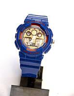 Многофункциональные часы CASIO G-SHOCK GA-100 (синие с красным) , кварцевые, мужские, спортивные, наручные