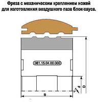 Комплект фрез для изготовления воздушного паза разгрузки наружной вагонки блок-хаус на 4-х сторонних станках