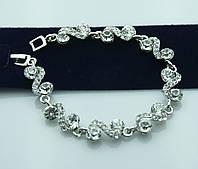 Белоснежный свадебный браслет в стразах. Украшения оптом недорого. 1020