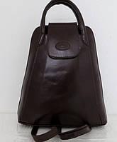 Стильная сумка-рюкзак женская кожаная. Коричневый. Италия , фото 1