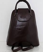 Стильная сумка-рюкзак женская кожаная. Коричневый. Италия