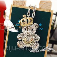 Кулон медвежонок с короной. Дизайн Juicy Couture