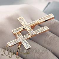 Кольцо Элегантные Кресты на два пальца. Бижутерия в розницу . Минимальные цены.