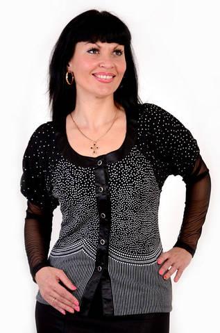 Блуза черная в горошек ангора с сеточкой на рукавах женская бл 055