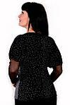 Блуза черная в горошек ангора с сеточкой на рукавах женская бл 055, фото 3