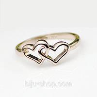 """Кольцо  Italina """"Два сердца"""" позолота 14К"""