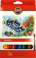 Карандаши акварельные цветные Koh-i-noor MONDELUZ «Рыбки» 36 цветов (3719_р)