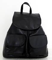 Вместительный рюкзак женский. Натуральная кожа. Черный. Италия