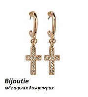Сережки ХРЕСТ ювелірна біжутерія золото 18к декор кристали Swarovski