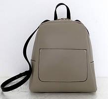 Стильная женская сумка - рюкзак 100% натуральная кожа. Серый. Италия