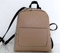 Стильная женская сумка - рюкзак 100% натуральная кожа. Бежевая. Италия, фото 1
