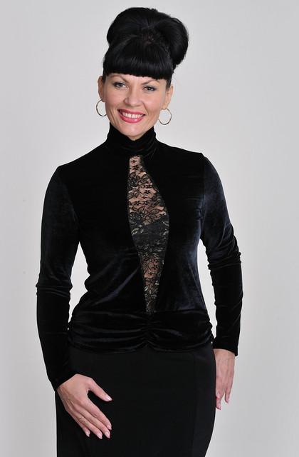 """Бархатная черная блузка с сеточкой """"sex"""" гольф блузка свитшот  (БЛ 427475)"""