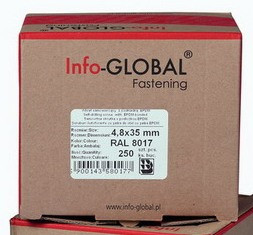 Саморізи покрівельні Info-Global, Wkret-Met(Klimas) Польща 4,8 35 mm (Кровельные саморезы Саморез кровельный)