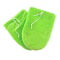 Варежки для парафинотерапии махровые на завязках, цвет зеленый, пара