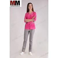 Медицинский костюм Сингапур женский (комбинированный розовый/серый котоновый) №1027