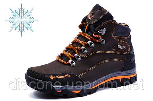 Ботинки Columbia зимние, мужские, на меху, натуральная кожа, коричневые