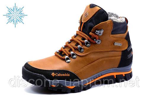 Ботинки Columbia зимние, мужские, на меху, натуральная кожа, рыжие