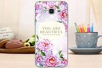 Силиконовый чехол для Samsung Galaxy J3 J300 с картинкой Надпись и цветы