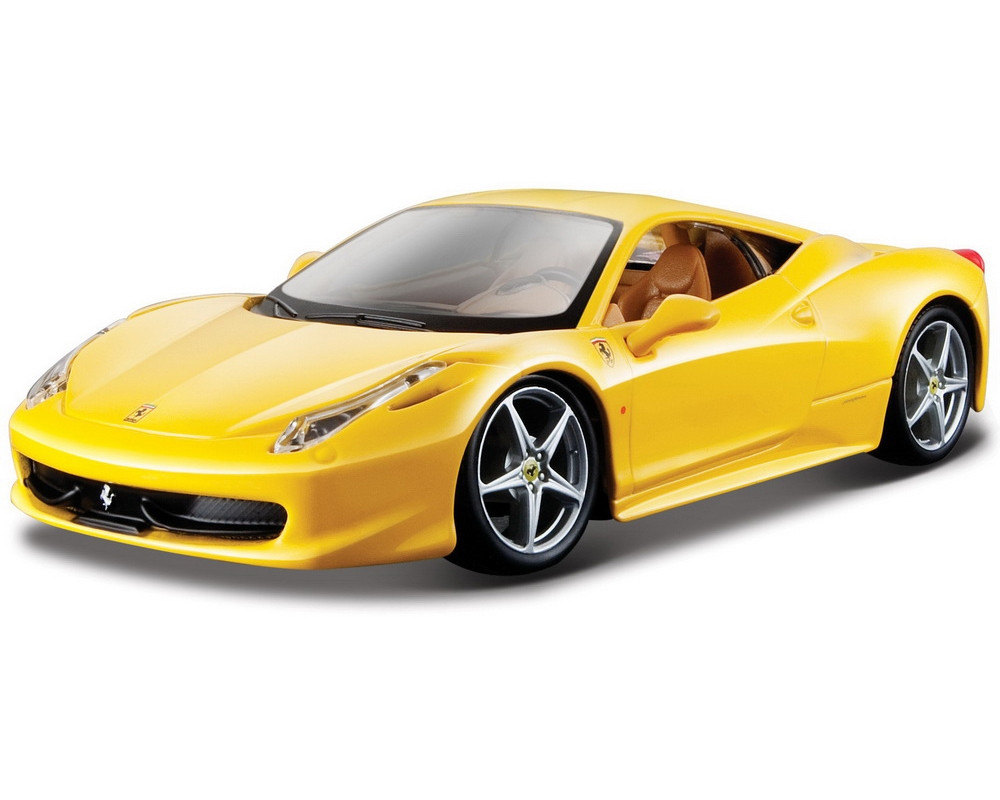 Автомодель Ferrari 458 Italia Bburago жовтий, червоний, 1:24 (18-26003)