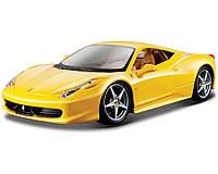 Автомодель Ferrari 458 Italia Bburago жовтий, червоний, 1:24 (18-26003), фото 1