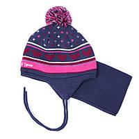 Зимняя шапка+манишка для девочки PELUCHE 18 ACC M F16 Berry. Размер 6/12м - 2/3.