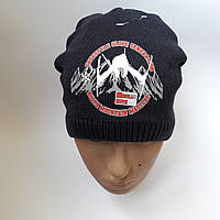 Детская зимняя вязаная шапка для мальчика на флисе от 7-12 лет лет оптом