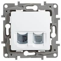 Розетка телефонная и компьютерная (RJ11 + RJ45 кат.5 UTP), 2-гнезда, белый - Legrand Etika