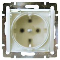 Розетка с заземлением, крышкой и шторками, влагозащищенная IP44, белый - Legrand Valena