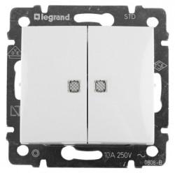 Выключатель проходной 2-клавишный с подсветкой, белый - Legrand Valena