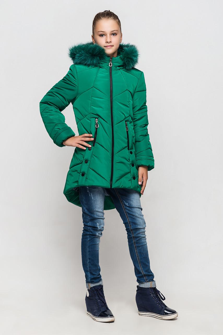 Зимняя куртка на девочку Мишель 134 р зеленая арт 85-00.