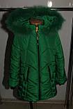 Зимняя куртка на девочку Мишель 134 р зеленая арт 85-00., фото 2