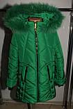 Зимняя куртка на девочку Мишель 134 р зеленая арт 85-00., фото 3