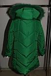 Зимняя куртка на девочку Мишель 134 р зеленая арт 85-00., фото 6