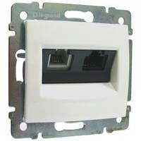 Розетка телефонная и компьютерная (RJ11+RJ45 кат. 6 UTP), белый -  Legrand Valena