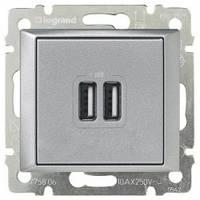 Зарядное устройство с USB-разъемами, 2-гнезда, 1500 мA, алюминий - Legrand Valena