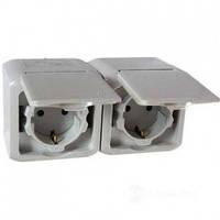 Розетка двойная с заземлением и шторками, влагозащищенная IP44, наружная, серый - Legrand Forix