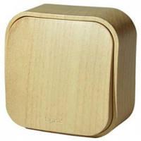 Выключатель 1-клавишный, наружный, под дерево - Legrand Quteo