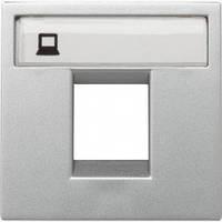 Лицевая панель одинарных компьютерных и телефонных розеток, 2-модуля, серебряный - ABB Zenit